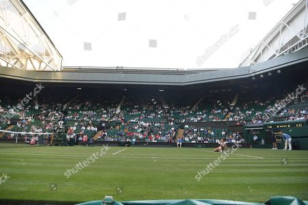 Wimbledon Tennis Day 2. 03/07/18 Jenena Ostapenko (lat) V Katy Dunne (grb) Katy Dunne Play On Centre Court At England Football Is On Empty Seats.