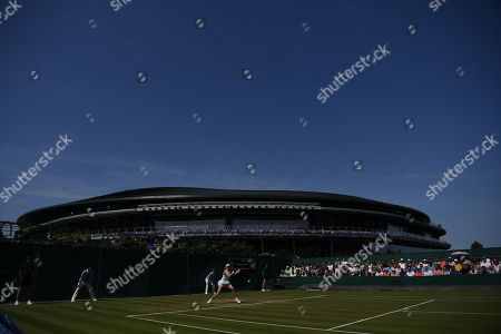 Editorial photo of Gabriella Taylor . Wimbledon Tennis Day 2. 03/07/18: Picture Kevin Quigley/daily Mail. Gabriella Taylor (gbr) V Eugenie Bouchard (can) Gabriella Taylor In Action.