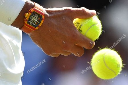 Stock Picture of The Championships Tennis Wimbledon 2018 Dudi Sela (isr) V Rafael Nadal (esp) A Close Up Rafael Nadal Watch - A £550 00 Richard Mille Timepiece.