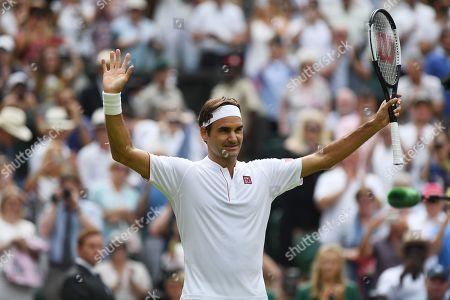 Roger Federer Wins. Roger Federer (sui) V Lukas Lacko (svk) Wimbledon Tennis Day 3. 04/07/18