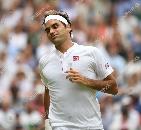 Roger Federer In Action. Roger Federer (sui) V Lukas Lacko (svk) Wimbledon Tennis Day 3. 04/07/18