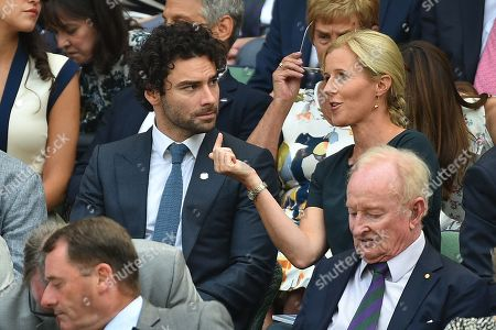Aidan Turner In The Royal Box With Shara Grylls The Wife Of Bear Grylls. The Championships Tennis Wimbledon 2018. Men's Semi-final On Centre Court. Kevin Anderson(rsa) V John Isner (usa)13/7/18 Day 11.