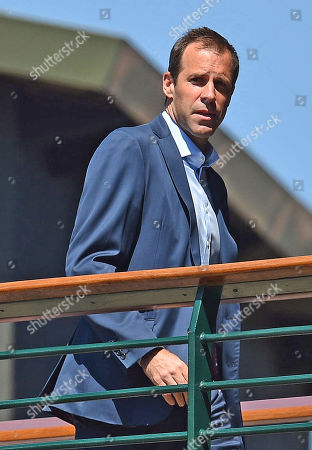 Editorial photo of Greg Rusedski At Wimbledon. Wimbledon Tennis Championships 2018. Pic Bruce Adams 15/7/18.