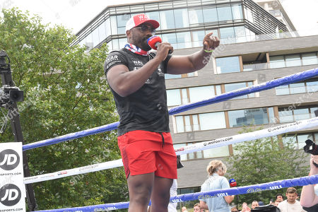 Dereck Chisora during a Public Workout at Potters Fields Park on 17th July 2019