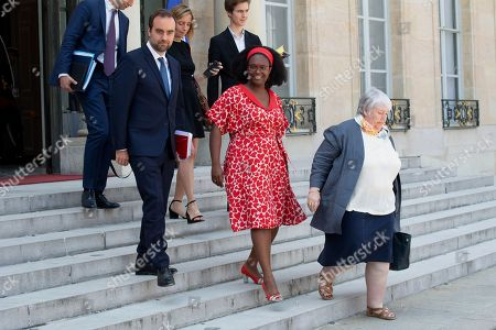 LtoR) French Junior Minister for territorial communities Sebastien Lecornu, French Junior Minister and Government's spokesperson Sibeth Ndiaye and French Minister of Territorial Cohesion and Relations with Territorial Communities Jacqueline Gourault leave the Elysee presidential palace following the weekly cabinet meeting.