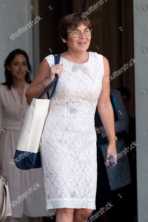 French Overseas Minister Annick Girardin leaves the Elysee presidential palace following the weekly cabinet meeting.