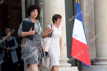 French Minister of Higher Education, Research and Innovation Frederique Vidal (L) and French Overseas Minister Annick Girardin leave the Elysee presidential palace following the weekly cabinet meeting.