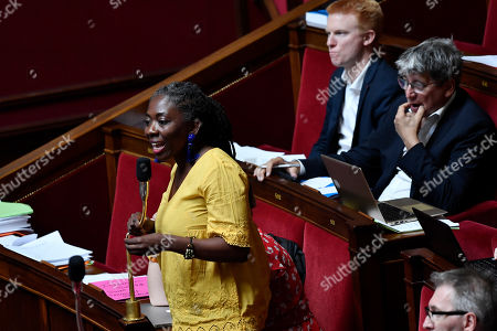 French Members of Parliament for La France Insoumise (France Unbowed), Daniele Obono speaks during a session concerning the EU-Canada trade agreement (CETA) at the National Assembly in Paris, France, 17 July 2019.