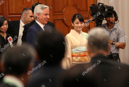 Japan's Princess Mako of Akishino (R) and Bolivian Vice President Alvaro Garcia Linera (L) attend a meeting with members of Japanese-ascent communities, in Santa Cruz, Bolivia, 17 July 2019, as part of her official visit on the occasion of the 120th anniversary of the Japanese migration in the country.