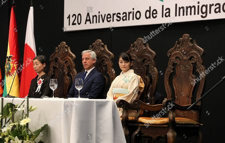 Japan's Princess Mako of Akishino (R) and Bolivian President Alvaro Garcia Linera (C) attend a meeting with members of Japanese-ascent communities, in Santa Cruz, Bolivia, 17 July 2019, as part of her official visit on the occasion of the 120th anniversary of the Japanese migration in the country.