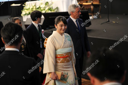 Japan's Princess Mako of Akishino (C) attends a meeting with members of Japanese-ascent communities, in Santa Cruz, Bolivia, 17 July 2019, as part of her official visit on the occasion of the 120th anniversary of the Japanese migration in the country.