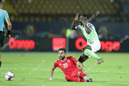 Nigeria's Oghenekaro Etebo reacts during the African Cup of Nations third place soccer match between Nigeria and Tunisia in Al Salam stadium in Cairo, Egypt