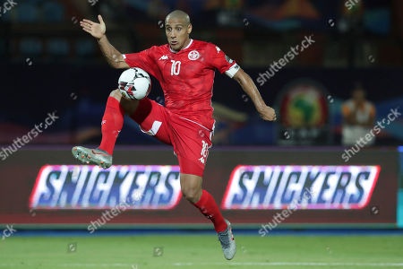 Tunisia's Wahbi Khazri stops the ball during the African Cup of Nations third place soccer match between Nigeria and Tunisia in Al Salam stadium in Cairo, Egypt