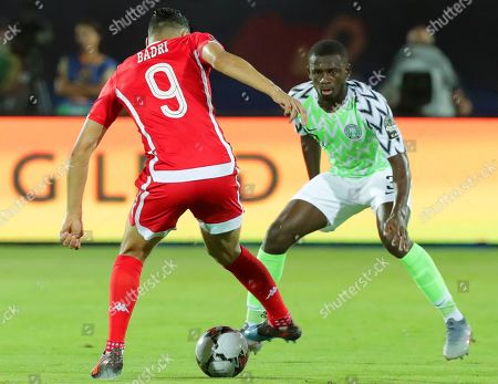 Tunisia's Anice Badri (L) in action against Nigeria's Jamilu Collins (R) during the 2019 Africa Cup of Nations (AFCON) third place soccer match between Tunisia and Nigeria in Al-Salam Stadium in Cairo, Egypt, 17 July 2019.