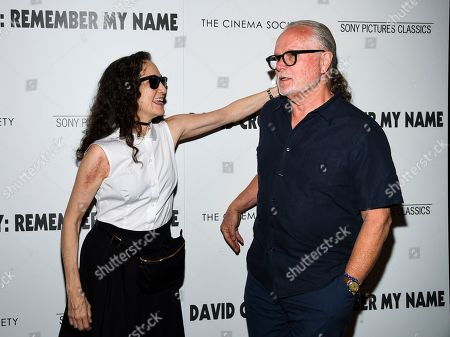 """Stock Image of Bebe Neuwirth, Chris Calkins. Actress Bebe Neuwirth, left, and husband Chris Calkins attend a special screening of """"David Crosby: Remember My Name"""", hosted by Sony Pictures Classics and The Cinema Society, at The Roxy Cinema, in New York"""