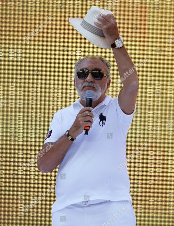 Romanian businessman and former tennis player Ion Tiriac salutes during a special event organized for Romania's Simona Halep at National Arena stadium in Bucharest, Romania, 17 July 2019. Halep is the first Romanian tennis player ever to win a Wimbledon singles title after defeating Serena Williams of the USA in the women's final of the Wimbledon Championships at the All England Lawn Tennis Club in London, Britain, on 13 July 2019.