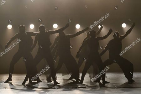 Sadler's Wells' Young Associates present a mixed bill. This piece is 'Vessels of Affliction', choreographed by Anthony Matsena. The dancers are Adelie Lavail, Cher Nicolette Ho, Dan Baines, George Frampton, Harni Claxton, Joey Barton, Kennedy Muntanga, Lily Potger, Monique Humphries.
