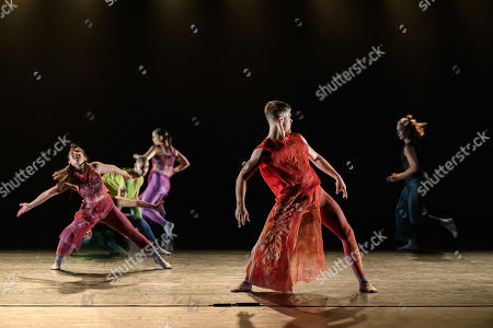 Stock Picture of Sadler's Wells' Young Associates present a mixed bill. This piece is 'Vessels of Affliction', choreographed by Anthony Matsena. The dancers are Adelie Lavail, Cher Nicolette Ho, Dan Baines, George Frampton, Harni Claxton, Joey Barton, Kennedy Muntanga, Lily Potger, Monique Humphries.