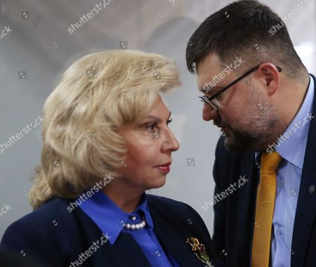 Plenipotentiary on Human Rights in the Russian Federation Tatyana Moskalkova and lawyer Andrei Domansky during a court hearing of the case involving the head of the RIA Novosti Ukraine Kirill Vyshinsky