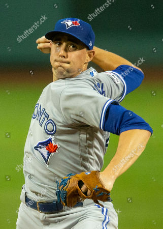 Toronto Blue Jays starting pitcher Aaron Sanchez pitches during the first inning against the Boston Red Sox at Fenway Park in Boston, Massachusetts, USA, 17 July 2019.