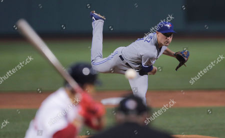 Toronto Blue Jays starting pitcher Aaron Sanchez delivers during the first inning of a baseball game against the Boston Red Sox at Fenway Park in Boston