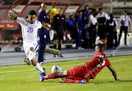 Stock Picture of Panama's Isidoro Hinestroza (R) vies for the ball with El Salvador's Christian Molina (L) during a Concacaf U'22 soccer match at Rommel Fernandez stadium in Panama city, Panama, 17 July 2019.