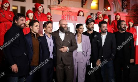 The characters from the third season of La Casa de Papel, (The Paper House) Hovik Keuchkerian, Bogota; Pedro Alonso, Berlin; Rodrigo de la Serna, Palermo; Darko Peric, Helsinki; Alba Flores, Nairobi; Alvaro Morte, El Profesor; the Director of La Casa de Papel Jesus Colmenar; and the Director of Photography of La Casa de Papel Miguel Amoedo, attend the red carpet for the premiere of the third season of the series, in Bogota, Colombia, 17 July 2019. The Spanish actor Alvaro Morte, who plays the Professor in 'La casa de papel', assured that the third season of the series is 'more action', while the fourth, which they are recording, is 'more than emotion'.