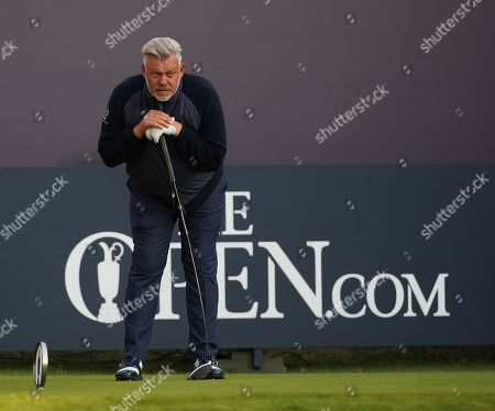 Darren Clarke on the 1st tee before playing the opening shot of Round 1 of the 148th Open Championship.