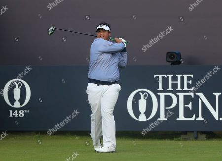 Thailand's Kiradech Aphibarnrat hits his shot on the 1st tee during the first round of the British Open Golf Championships at Royal Portrush in Northern Ireland
