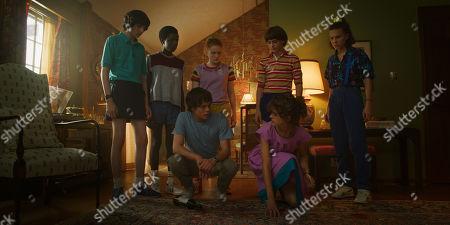 Finn Wolfhard as Mike Wheeler, Caleb McLaughlin as Lucas Sinclair, Charlie Heaton as Jonathan Byers, Sadie Sink as Max Mayfield, Natalia Dyer as Nancy Wheeler, Noah Schnapp as Will Byers and Millie Bobby Brown as Eleven
