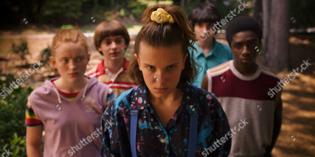 Sadie Sink as Max Mayfield, Noah Schnapp as Will Byers, Millie Bobby Brown as Eleven, Finn Wolfhard as Mike Wheeler and Caleb McLaughlin as Lucas Sinclair