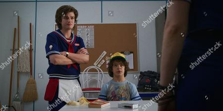 Stock Image of Joe Keery as Steve Harrington and Gaten Matarazzo as Dustin Henderson