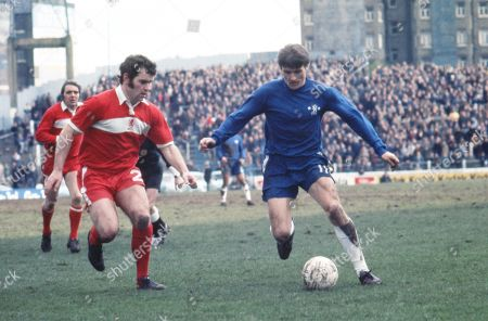 Stock Photo of Charlie Cooke on the ball for Chelsea, under pressure from John Craggs