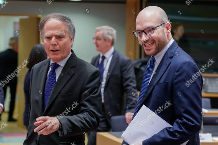 Stock Photo of Italian Foreign Minister Enzo Moavero Milanesi (L) and Lorenzo Fontana Italian Minister of European Affairs during a European general affairs council in Brussels, Belgium, 18 July 2019.