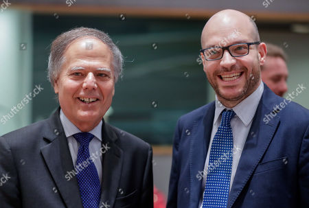 Italian Foreign Minister Enzo Moavero Milanesi  (L) and Lorenzo Fontana Italian Minister of European Affairs during a European general affairs council in Brussels, Belgium, 18 July 2019.