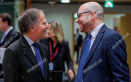Stock Picture of Italian Foreign Minister Enzo Moavero Milanesi (L) and Lorenzo Fontana Italian Minister of European Affairs during a European general affairs council in Brussels, Belgium, 18 July 2019.