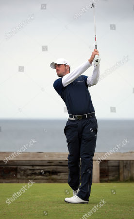 Stock Photo of Alexander Bjork of Denmark in action on the first day of the British Open Golf Championship at Royal Portrush, Northern Ireland, 18 July 2019.