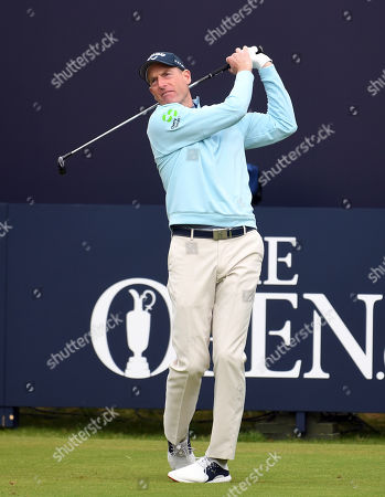 Jim Furyk of the US tees off on the first day of the British Open Golf Championship at Royal Portrush, Northern Ireland, 18 July 2019.