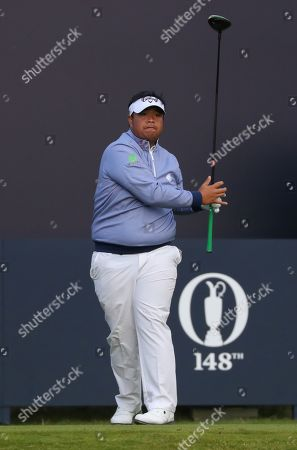 Stock Image of Kiradech Aphibarnrat of Thailand tees off on the first