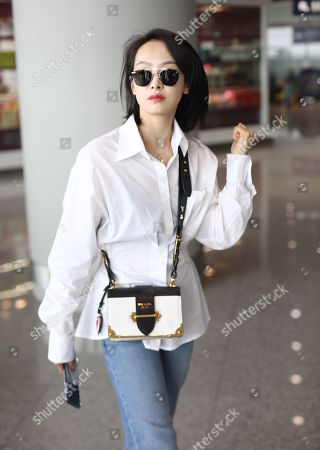 Editorial photo of Victoria Song at Beijing airport, China - 16 Jul 2019