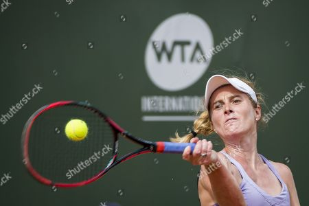 Allie Kiick from the USA in action against Samantha Stosur from Australia during their second round match at the WTA International Ladies Open Lausanne tournament in  Lausanne, Switzerland, 18 July 2019.