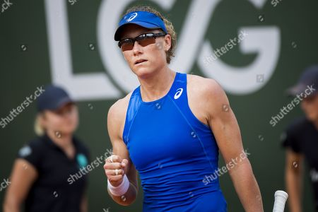 Samantha Stosur from Australia in action against Allie Kiick from the USA during their second round match at the WTA International Ladies Open Lausanne tournament in  Lausanne, Switzerland, 18 July 2019.