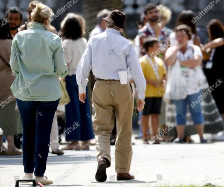 Woody Allen (R) walks at the set of his film shooting in San Sebastian, Spain, 18 July 2019. Allen shoots his latest work from 10 July to 23 August in San Sebastian.