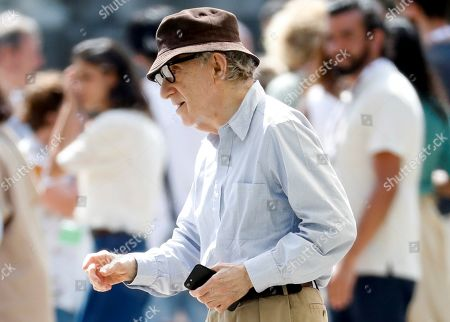 Woody Allen reacts at the set of his film shooting in San Sebastian, Spain, 18 July 2019. Allen shoots his latest work from 10 July to 23 August in San Sebastian.