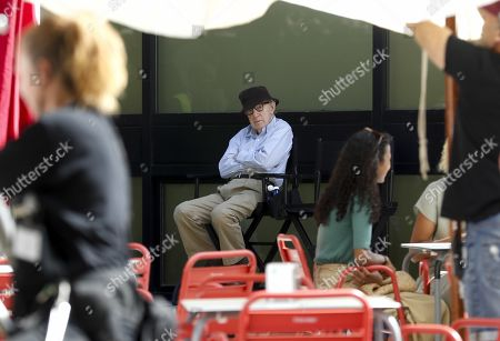 Woody Allen sits at the set of his film shooting in San Sebastian, Spain, 18 July 2019. Allen shoots his latest work from 10 July to 23 August in San Sebastian.