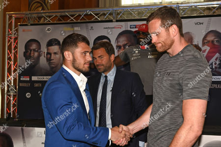 Dave Allen (L), Eddie Hearn and David Price during a Press Conference at Canary Riverside Plaza Hotel on 18th July 2019