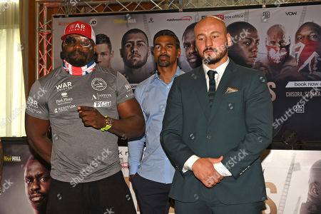 Dereck Chisora (L), David Haye and Artur Szpilka during a Press Conference at Canary Riverside Plaza Hotel on 18th July 2019