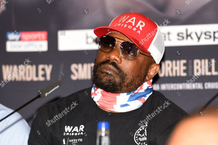 Dereck Chisora during a Press Conference at Canary Riverside Plaza Hotel on 18th July 2019
