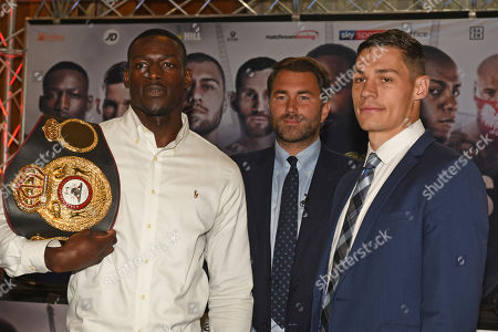Chris Billam-Smith (L) and Richard Riakporhe during a Press Conference at Canary Riverside Plaza Hotel on 18th July 2019