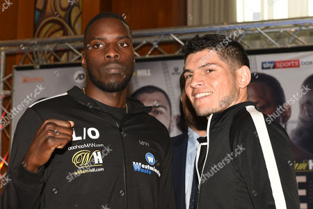 Lawrence Okolie (L) and Mariano Angel Gudino during a Press Conference at Canary Riverside Plaza Hotel on 18th July 2019